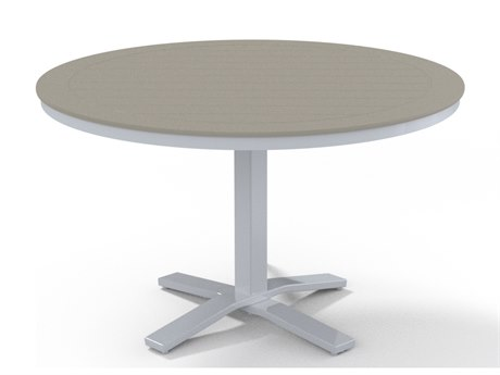 Telescope Casual Marine Grade Polymer 48''Wide Round Pedestal Dining Height Table with Umbrella Hole