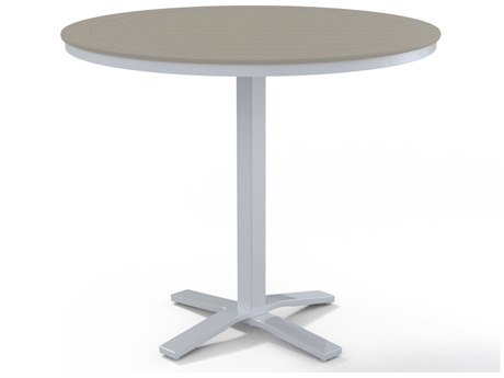 Telescope Casual Marine Grade Polymer 48''Wide Round Pedestal Bar Height Table with Umbrella Hole