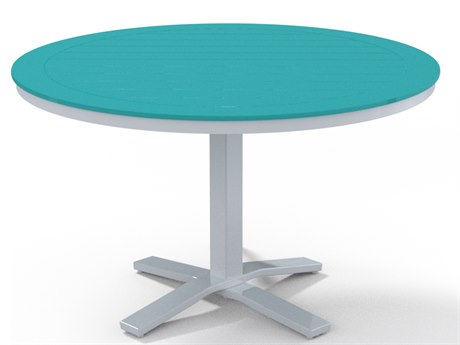 Telescope Casual Marine Grade Polymer 48''Wide Round Dining Table with Umbrella Hole