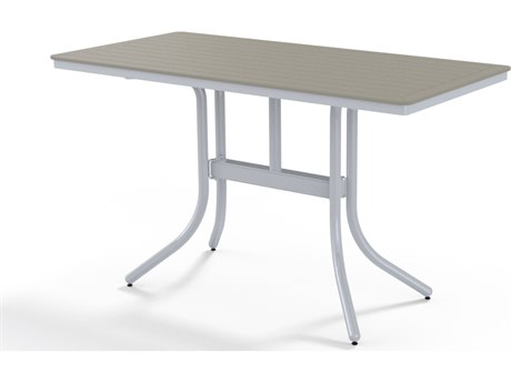 Telescope Casual Marine Grade Polymer 64''W x 32D Rectangular Counter Height Table with Umbrella Hole