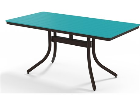 Telescope Casual Marine Grade Polymer 64''W x 32D Rectangular Dining Height Table with Umbrella Hole