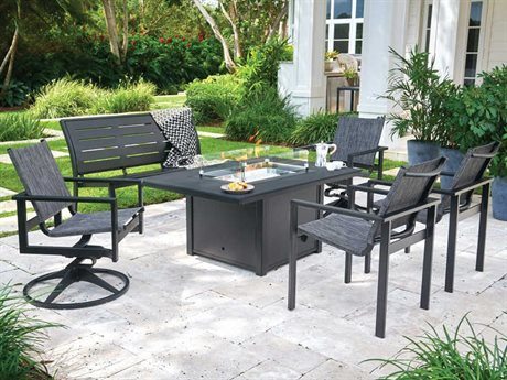 Telescope Casual Tribeca Sling Aluminum Fire Pit Dining Set