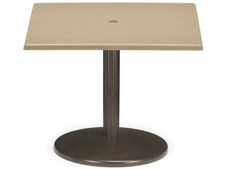 Telescope Casual Werzalit Top Recycled Plastic 36 Square Balcony Height Spun Pedestal Table with Umbrella Hole