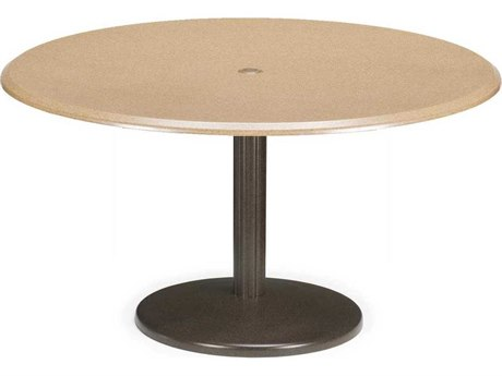 Telescope Casual Werzalit Top Recycled Plastic 48 Round Chat Height Spun Pedestal Table with Umbrella Hole