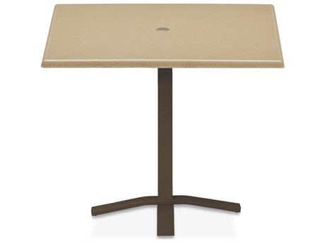 Telescope Casual Werzalit Top Recycled Plastic 36''Wide Square Pedestal Counter Height Table with Umbrella Hole