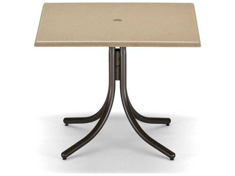 Telescope Casual Werzalit Recycled Plastic 36 Square Dining Table with Umbrella Hole