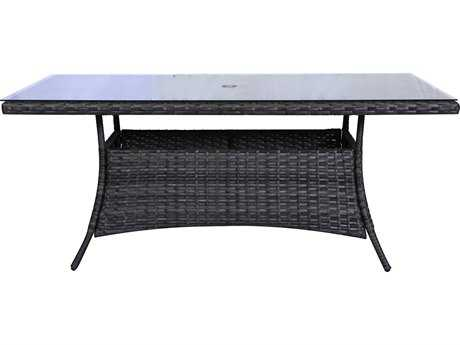 Teva Bora Bora Wicker Rattan 42W x 72D Dining Table with Glass Top