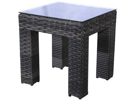 Teva Bora Bora Wicker Rattan 20W x 20H End Table with Glass Top