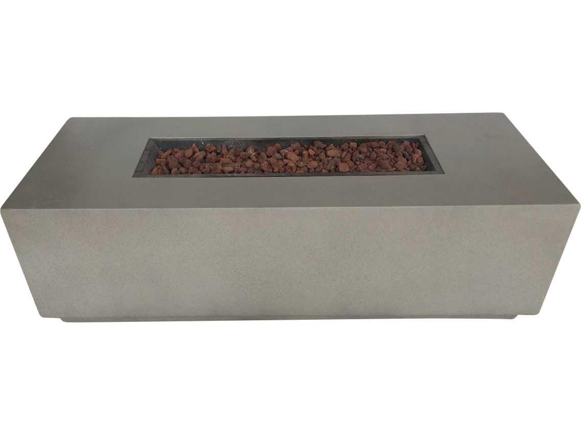 Teva grc torch 60 x 24 rectangular concrete fire pit table for Rectangular stone fire pit