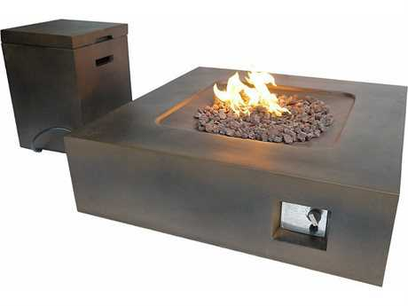 Teva Flint Rectangular Fire Pit Table with Propane Storage in Brown