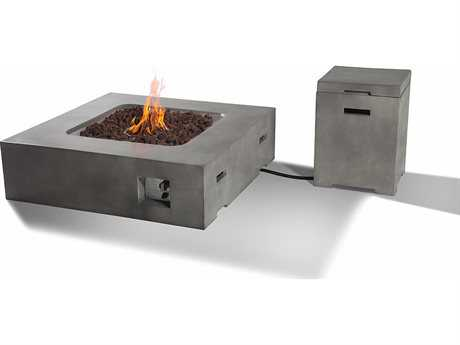 Teva Flint Rectangular Fire Pit Table with Propane Storage in Concrete TEFIRESET2