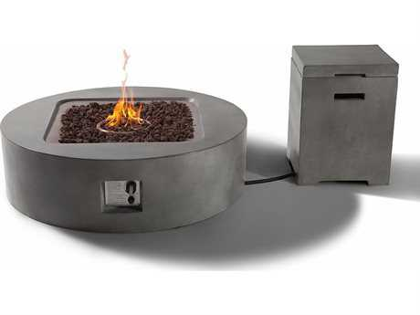 Teva Flint Rectangular Fire Pit Table with Propane Storage in Concrete