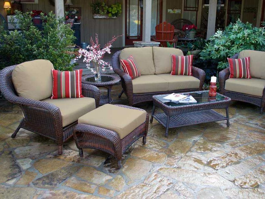 Patio Chairs Set Of 6: Tortuga Outdoor Sea Pines Wicker Cushion 6-Piece Lounge