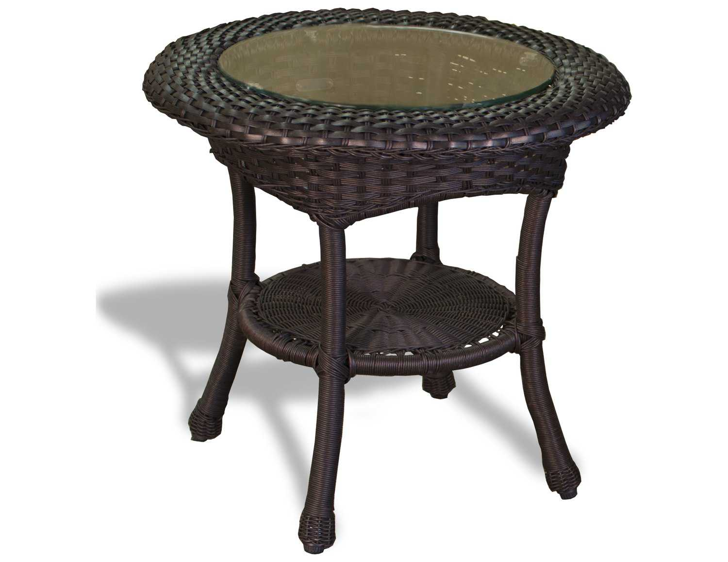tortuga outdoor lexington wicker 22 round side table. Black Bedroom Furniture Sets. Home Design Ideas