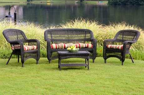 Tortuga Outdoor Portside Wicker Cushion 4-Piece Lounge Set