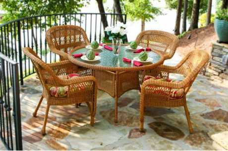 Tortuga Outdoor Portside Wicker Cushion 5 Piece Dining Set