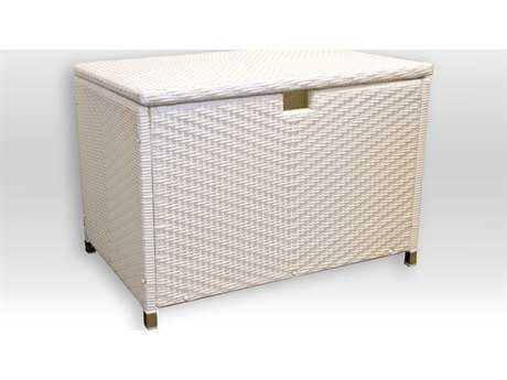 Tortuga Outdoor Stonewick Wicker Storage Box  Medium - White