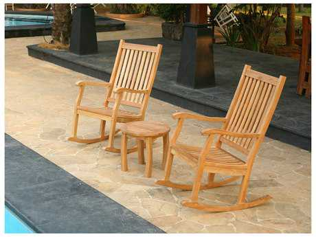 Tortuga Outdoor Jakarta Teak Conversation Rocking Chair Set