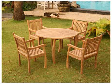 Tortuga Outdoor Jakarta Teak 5Pc Dining Set (Teak 48 Dining Table & 4 Teak Arm Chairs)