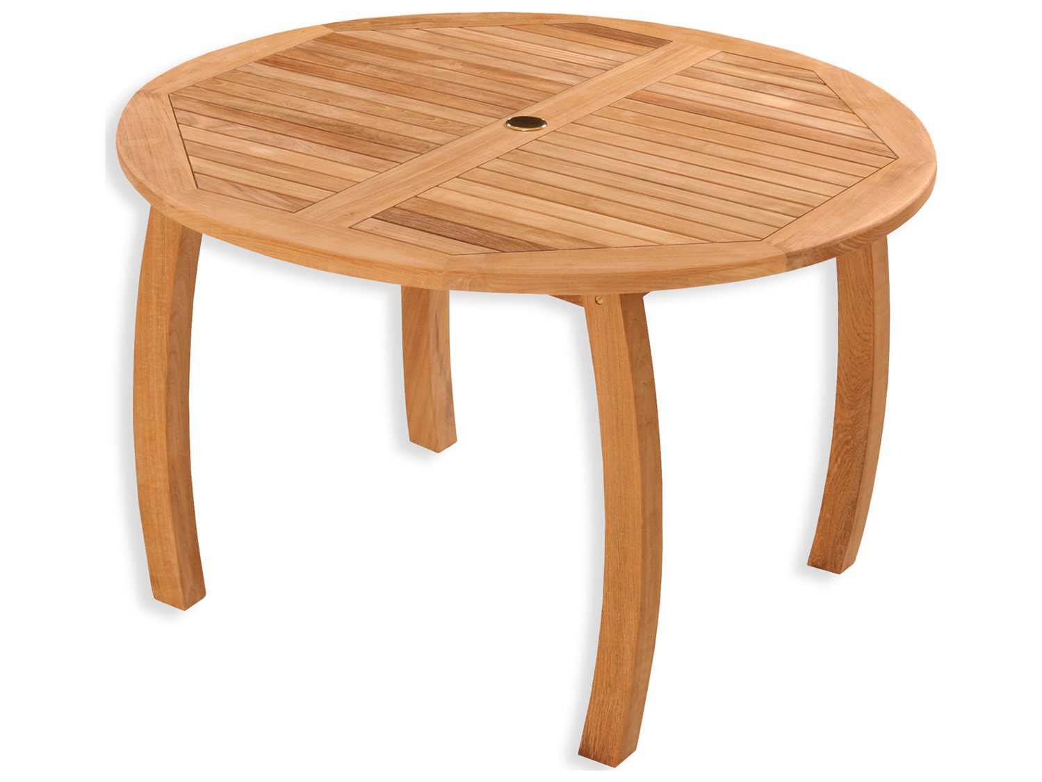 Tortuga outdoor jakarta teak 48 round dining table tk r dt for 44 inch round dining table with leaf
