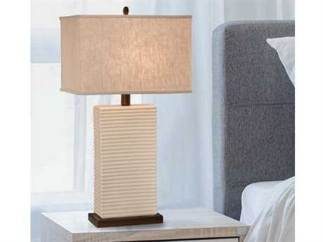 Thumprints Ripple Eggshell Glaze with Bronze Accents Table Lamp