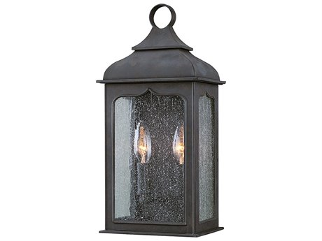 Troy Lighting Henry Street Colonial Iron Two-Light 7'' Wide Outdoor Wall Light