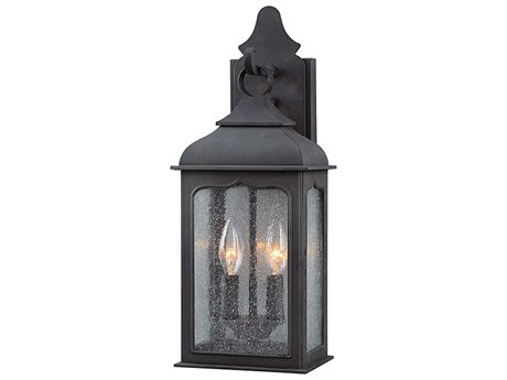 Troy Lighting Henry Street Colonial Iron Two-Light 8'' Wide Outdoor Wall Light