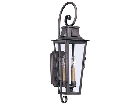 Troy Lighting Parisian Square Aged Pewter Two-Light 7'' Wide Outdoor Wall Light