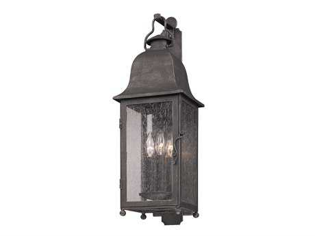 Troy Lighting Larchmont Aged Pewter Three-Light Outdoor Wall Light