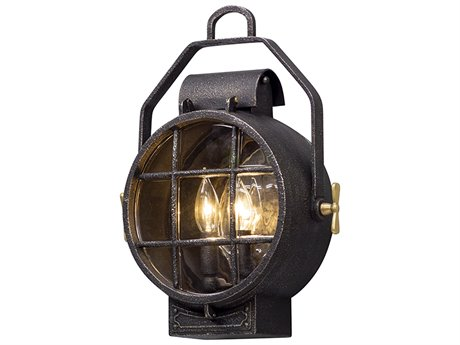 Troy Lighting Point Lookout Aged Silver with Polished Brass Accents Two-Light 13'' Wide Outdoor Wall Light