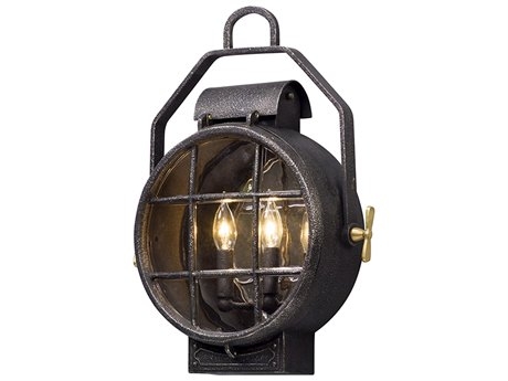 Troy Lighting Point Lookout Aged Silver with Polished Brass Accents Two-Light 15'' Wide Outdoor Wall Light