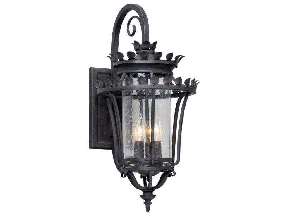 Troy Lighting Greystone Forged Iron Three-Light Outdoor Wall Light TLB5132