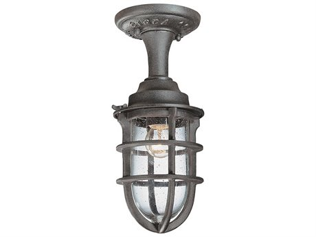 Troy Lighting Wilmington Nautical Rust 6'' Wide Outdoor Flush Mount