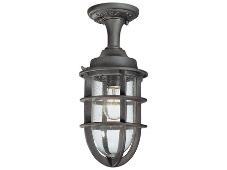 Troy Lighting Wilmington Nautical Rust 7'' Wide Outdoor Flush Mount