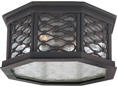 Troy Lighting Los Olivos Old Iron Two-Light 13'' Wide Outdoor Flush Mount