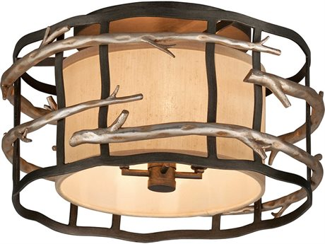 Troy Lighting Adirondack Graphite And Silver Leaf Four-Light 18'' Wide Semi-Flush Mount