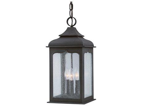 Troy Lighting Henry Street Colonial Iron Three-Light 9'' Wide Outdoor Hanging Light