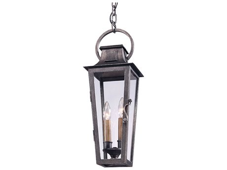 Troy Lighting Parisian Square Aged Pewter Two-Light 7'' Wide Outdoor Hanging Light