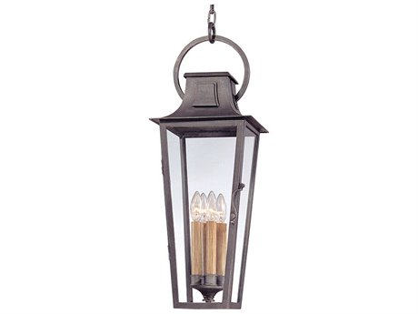 Troy Lighting Parisian Square Aged Pewter Four-Light 10'' Wide Outdoor Hanging Light