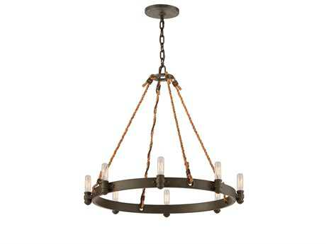 Troy Lighting Pike Place Shipyard Bronze Eight-Light 25'' Wide Chandelier