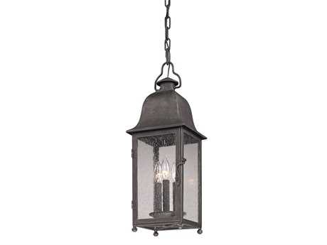 Troy Lighting Larchmont Aged Pewter Three-Light Outdoor Hanging Light