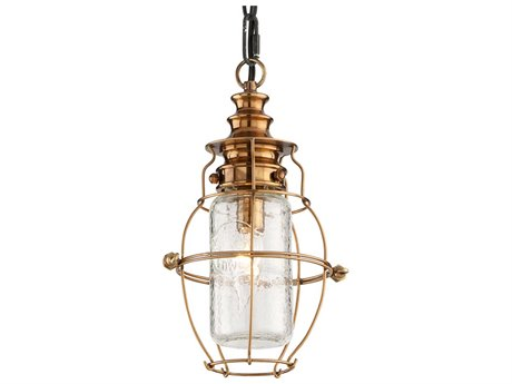 Troy Lighting Little Harbor Aged Brass With Forged Black Accents 6'' Wide Outdoor Hanging Light