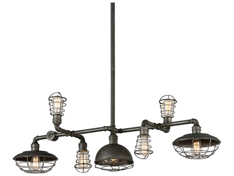 Troy Lighting Conduit Old Silver Seven-Light 47'' Wide Island Light
