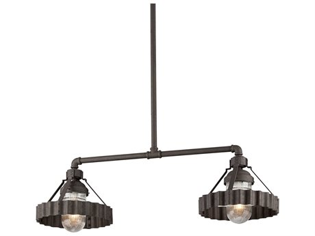 Troy Lighting Canary Wharf Burnt Sienna Two-Light 44'' Wide Outdoor Hanging Light