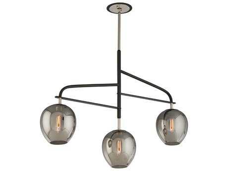 Troy Lighting Odyssey Carbide Black & Polished Nickel Three-Light Island Light