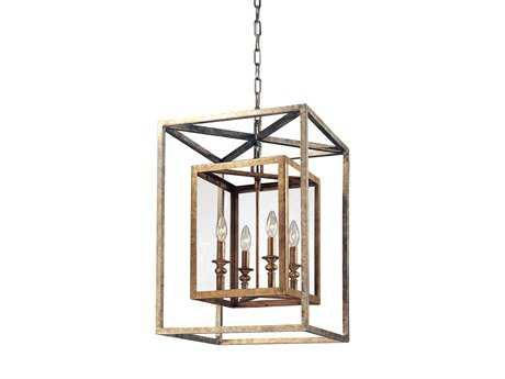 Troy Lighting Morgan Gold Silver Leaf Four-Light Pendant Light