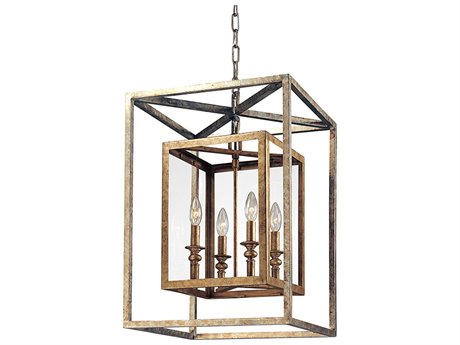 Troy Lighting Morgan Gold Silver Leaf Four-Light 16'' Wide Pendant Light
