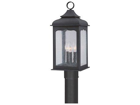 Troy Lighting Henry Street Colonial Iron Three-Light 9'' Wide Outdoor Post Light