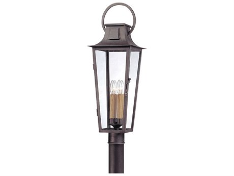 Troy Lighting Parisian Square Aged Pewter Four-Light 10'' Wide Outdoor Post Light