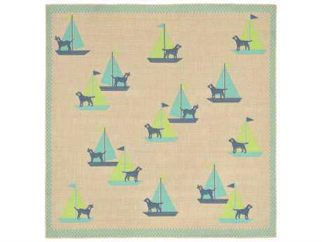 Trans Ocean Rugs Playa Sailing Dogs 7'10'' Square Blue Area Rug